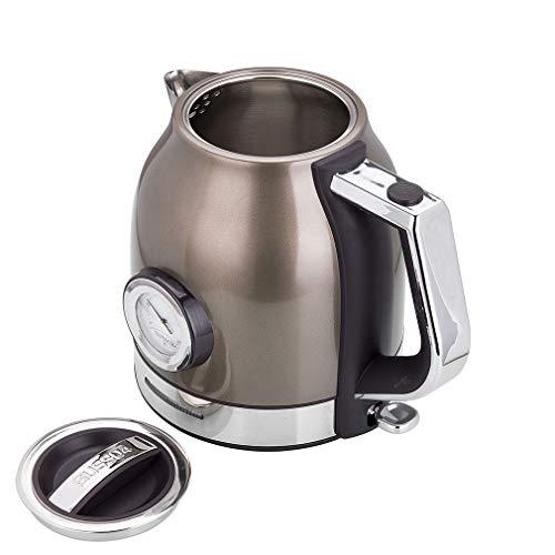 Wasserkocher Edelstahl, Elektrischer Wasserkessel Temperaturanzeige, 1500 W, 1,8 liter, Retro Design, kabelloser Teekocher, BPA frei, Trockengehschutz, automatische Abschaltung… (brown)
