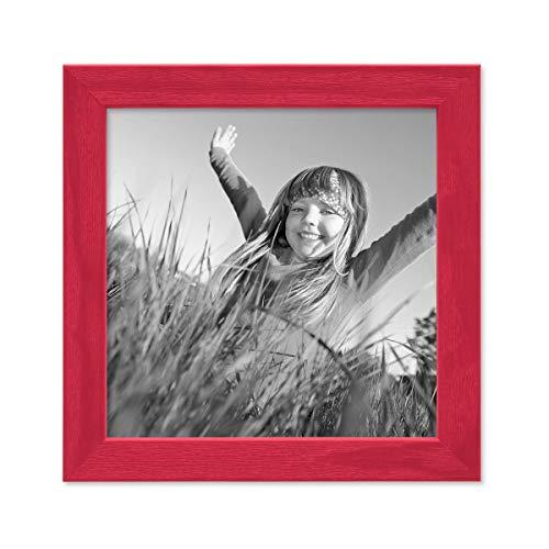 PHOTOLINI Bilderrahmen Rot 15x15 cm Massivholz mit Acrylglasscheibe/Fotorahmen/Wechselrahmen