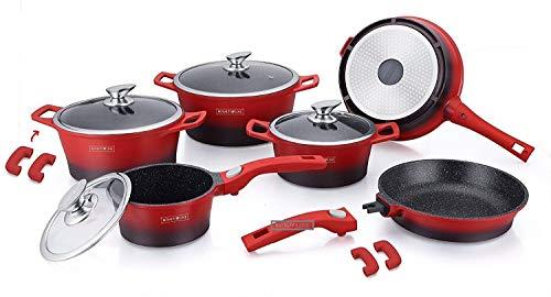 ROYALTY LINE - Batería de cocina profesional de 14 piezas, aluminio fundido con revestimiento de mármol, con asas extraíbles, color rojo y negro