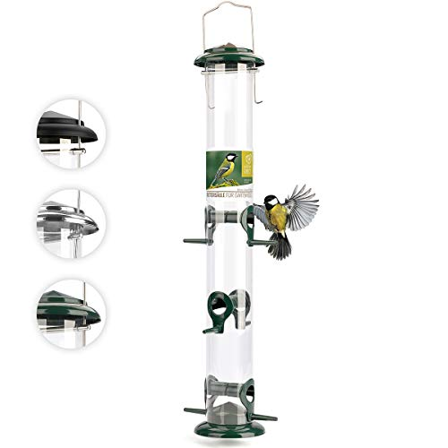wildtier herz I XL Körner Vogelfutterspender 52cm – aus rostfreiem Metall, Vogel Futterstation, Futtersäule, Wildvögel Futtersilo, Grün