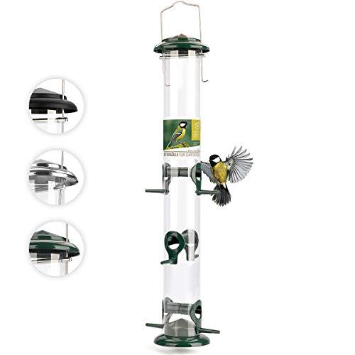 corazón animal salvaje | Comederos para aves de comida de grano, tamaño XL, 52 cm, con plazas de acero inoxidable, columna de alimentación para pájaros [verde]