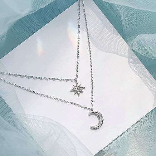 Collar Joyas Moda Simple Doble Capa Estrella Luna Encanto Collar Delicado Cadena De Clavícula Collar De Circón para Joyería De Mujer