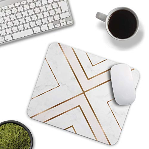Mouse Pad White Chic Pattern Cute Desk Mousepad Non-Slip Rubber Custom Computer Accessories Gaming Mouse Pad Rectangle Mouse Pads for Home and Office Work Photo #2