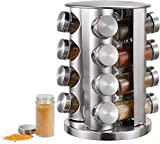 16-Jar Revolving Countertop Spice Rack Organizer, Spinning Countertop Herb and Spice Holder Rack Organizer with 16 Empty Spice Jars, Large Standing Cabinet Seasoning Tower for Kitchen
