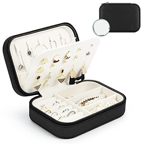 BELICOO Schmuckkästchen Damen, Schmuckkästchen Reise Ohrringe,für Ringe, Armbänder, Ohrringe, Halsketten, Kommt mit einem Spiegel(Schwarz)