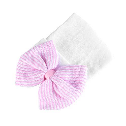 TENDYCOCO Sombrero de Bebé con Lazo Grande Gorro de Crochet para Recién Nacido (Rosa + Blanco)