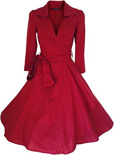 Look for the Stars Retro Vintage Kleid Abend Party 50er Jahre Stil Rockabilly/Cocktailkleid,Rot,48 (Etikette 24)