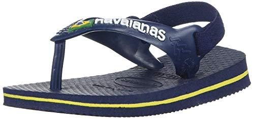 Havaianas Unisex-Baby Brazil Logo Flip Flop Sandal, Navy/Citrus, 8 M US Toddler