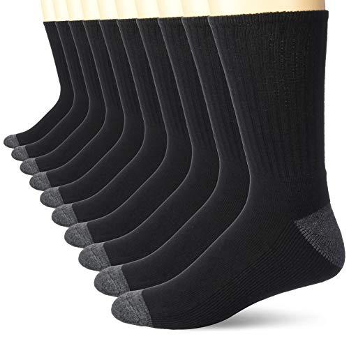 Amazon Essentials 10-Pack Cotton Half Cushioned Crew Socks Calcetines, negro, 5-11