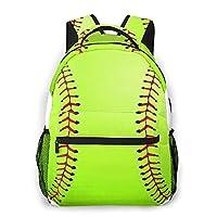 PATINISA リュックサック、白で隔離のソフトボール、バックパック 男女兼用 アウトドア旅行バッグ オシャレ 可愛い 通勤 通学用 軽量