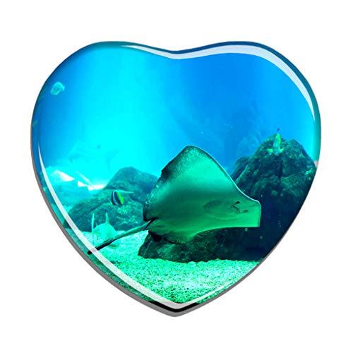 Hqiyaols Souvenir Portugal Aquarium Lissabon Kühlschrankmagnet Herzform Kristall Kühlschrank Aufkleber Magnet Reisen Geschenk Sammlerstücke Andenken