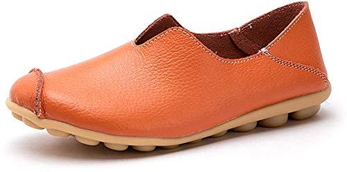 (カレン) Floralover レディース モカシン 女性 スリッポン スニーカー レディース ドライピングシューズ 運転靴 フラット ローファー 靴 ナースシューズ 妊娠中の女性の靴 柔らか 軽量 通気 滑り止め 快適 オレンジ 23.5cm