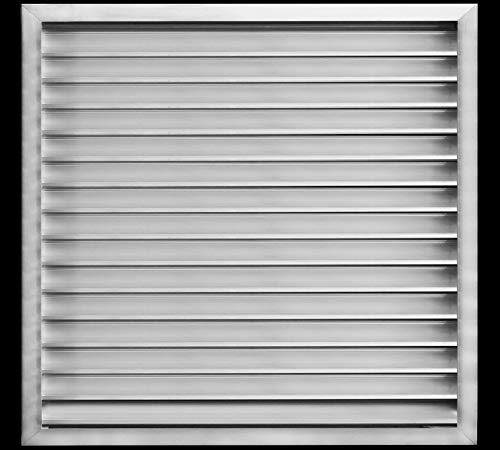 "26'w X 30'h Aluminum Outdoor Weather Proof Louver - Rain & Waterproof Air Vent with Screen Mesh - HVAC Grille - Aluminum [Outer Dimensions 27.75""w x 31.75""h]"