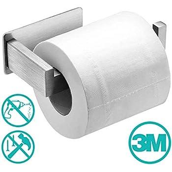 Avec 2 crochets RYMALL Porte rouleau de Papier Toilette,Porte Papier WC Auto-adh/ésif Support Papier Toilettes Acier Inox,Pour Porte Rouleau Toilette pour Salle de Bain et Cuisine