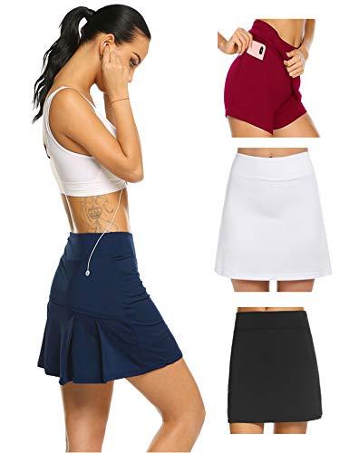 Damen Rock Kurz Culottes Tennisrock Yoga Skort mit Innenhose Taschen Sportrock Sportswear-Rock für Frauen Mädchen Golf Sport