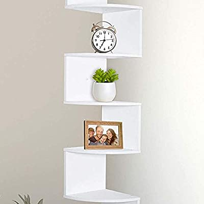 Greenco 5 Tier Wall Mount Corner Shelves White Finish, 7.75 x 7.75 x 48.5 inches