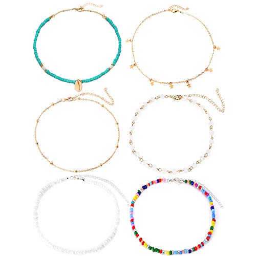 KOHOTA 6 Pieces Natural Shell Necklace for Women Handmade Star Crystal Beads Choker Necklace Hawaii Beach Adjustable Necklace Gift for Her Costume Party Decoration Supplies
