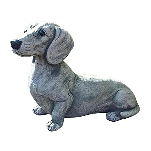 TBEONE Garden Statue Decoration, Dachshund Dog Resin Sculpture Garden French Bulldog Ornament, Realistic Animal Figures Miniature Decoration for Outdoor Lawn Home Statue Art