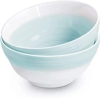 77L Porcelain Salad Bowl, [Set of 2, 22 FL OZ (650 ML)] Ceramic Salad/Cereal Bowl, Hand-painted Bowls Serving for Cereal, Salad, Snack, Oatmeal and More (6.2 Inches Diameter, Green)