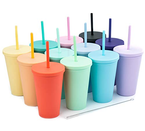 Tumblers with Lids (12 pack) 16oz Pastel Colored Acrylic Cups with Lids and Straws | Double Wall Matte Plastic Bulk Tumblers With FREE Straw Cleaner! Vinyl Customizable DIY Gifts (Assorted)