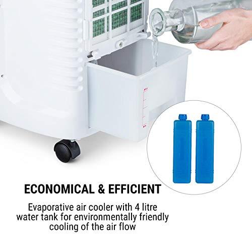 oneConcept Coolster - Klimalage, 4-in-1: Luftkühler, Ventilator, Ionisator und Luftbefeuchter, 320 m³/h Luftstrom, 4 L Wassertank, Oszillation, Timer bis 9 h, Touch-Bedienung, weiß