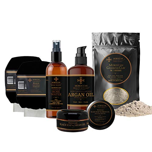 Bath and Shower Skincare Set Moroccan Hammam Complete Luxury Bath-6-pc, Damascus Rose Water, Black Soap, Ghassoul Clay, Kessa Gloves, by Succulent Scents