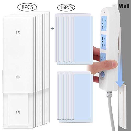 Hamkaw Power Strip Wandhalterung [ Selbstklebende ] 5 kg Tragkraft Punch-Free Power Stip Fixator für Steckdose, Tissue Box WiFi Router Fixator Home Office (Keine Schrauben und Keine Spuren), 8 Stück