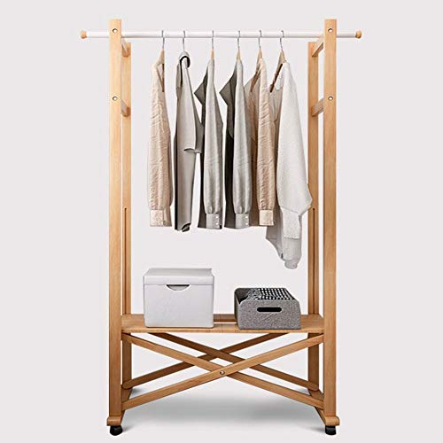Kapstok Staande Houten Kapstok Opvouwbaar Met opslag Rack Shoes Shelf hangers (Color : Wood Color)