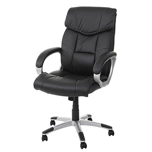 Mendler Massage-Bürostuhl HWC-A71, Drehstuhl Chefsessel, Heizfunktion Massagefunktion Kunstleder ~ schwarz