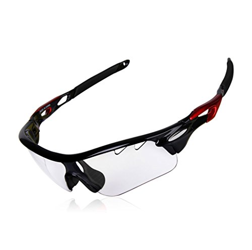 Gardom Sport Sonnenbrille Photochrom für Männer Frauen mit UV-Schutz, farbwechselnde Fahrradbrille mit Klebeband zum Reiten Fahren Angeln Golf (Transparente linse)