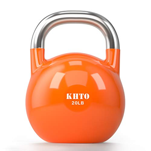 KHTO Kettle Bells – Competition Kettlebell 20 LB – Professional Grade Kettlebell for Fitness, Weightlifting, Core Training – Durable and Strong Design – 10-50 LB Color-Coded Collection
