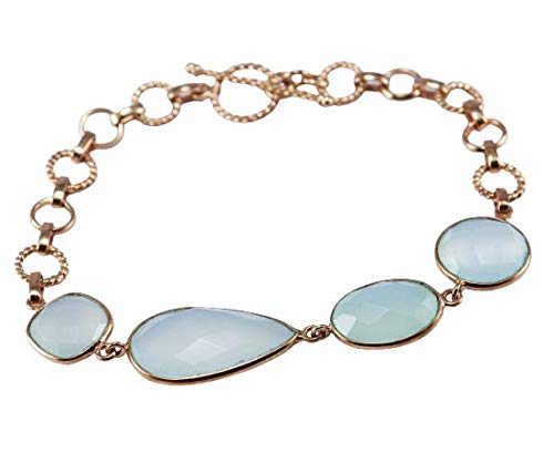 925 Sterling Silver Aqua Chalcedony Gemstone Rose Gold Plated 10 gms 8 inch Bracelet Fine Silver Jewelry Crystalcraftindia
