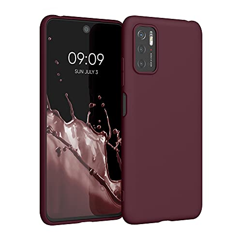 kwmobile Carcasa para Xiaomi Poco M3 Pro 5G - Funda para móvil en TPU Silicona - Protector Trasero en Rojo Vino
