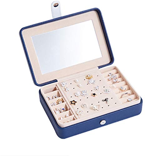 PPLAS Joyería de joyería Abotonada joyería Pendiente Pendiente Maquillaje Organizador Anillo Caja de Belleza Caja de Viaje reflejada Maquillaje portátil de Almacenamiento (Color : Dark Blue Mirror)