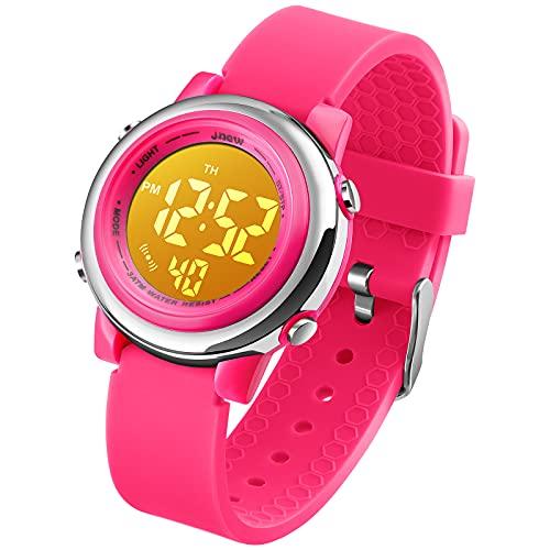 Reloj digital resistente al agua para niñas, colorido, luminiscente, con alarma y cronómetro, rosa