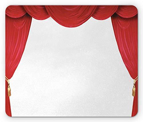 Mausemat Theater Show Bühnenvorhänge Eröffnung Classic Antique Look Auf Einfachem Hintergrund Grafik Rot Und Weiß Rechteck Mausmatte Gedruckt Komfortable 25X30Cm Rutschfeste Compu