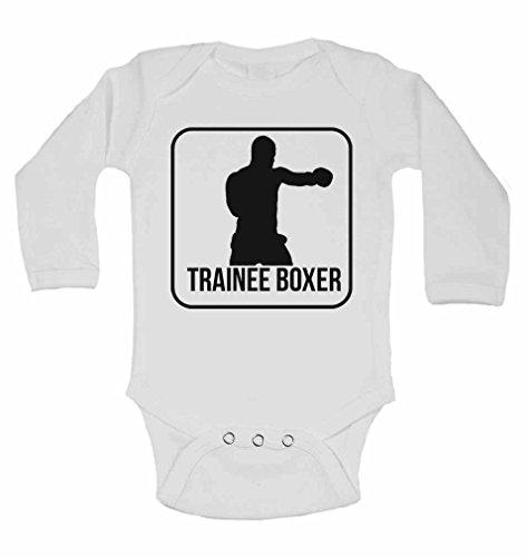 Trainee Boxer–NEUE personalisierbar Lange Ärmel wächst Baby Westen Bodys Baby–Jungen, Mädchen–weiß–2–3Jahre