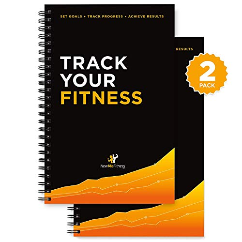 Workout Log Book & Fitness Journal - 25-Week Designed by Experts, w/ Illustrations : Track Gym, Bodybuilding & Crossfit Progress : Sturdy Binding, Thick Pages & Laminated, Protected Coverm, Pack of 2