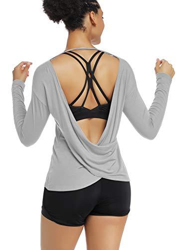 Muzniuer Workout Shirts for Women Active Womens Backless Shirts Long Sleeve Open Shirts Sexy Boat Neck Backless T Shirts Low Back Shirts LightGray S