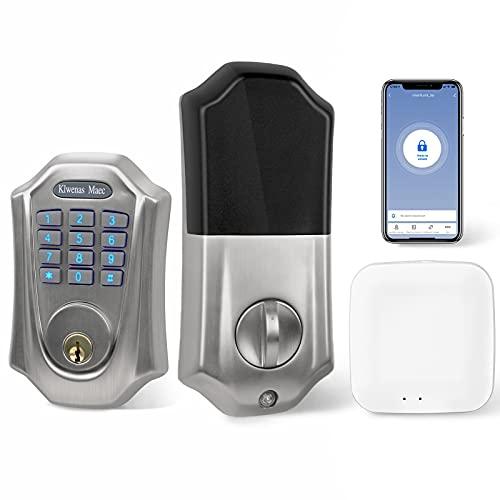 KlwenasMaec Smart Door Lock with Keypad, Keyless Entry Home with Your Smartphone, Bluetooth & Wi-Fi Front Door Locks Work with Alexa, Easy Installation, IP65 Weatherproof