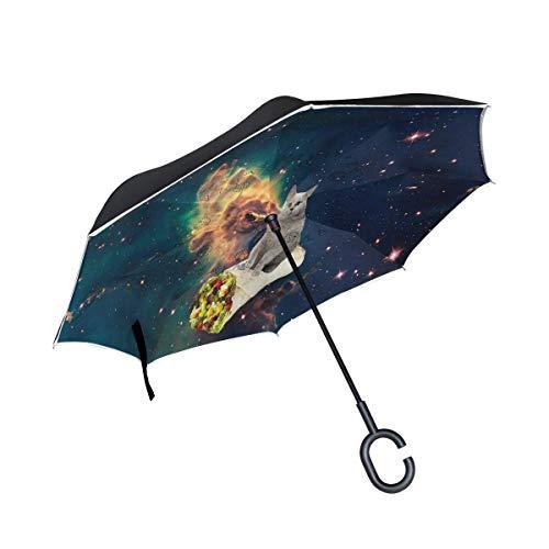 ETGeed Paraguas invertido Flying Cats Space con Chicken Roll Reverse Umbrella