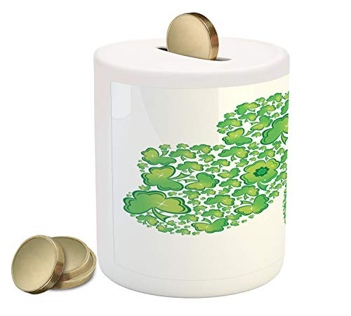Lunarable Celtic Piggy Bank, Irish Shamrock Made with Small Clover Patterns Graphic, Printed Ceramic Coin Bank Money Box for Cash Saving, White and Green