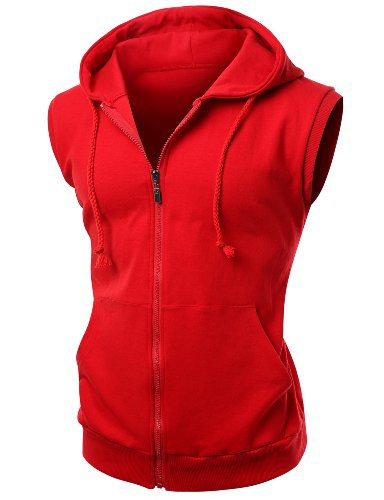 Basic Solid Cotton Based Zipper Vest Hoodie Red Size XS