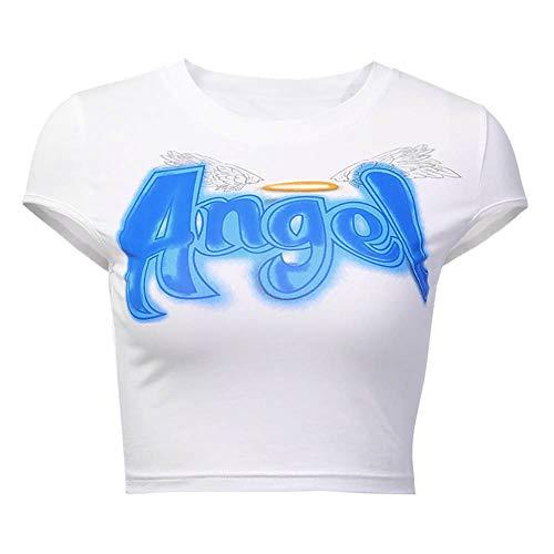 DONNU Camiseta de manga corta ajustada con estampado informal de moda. Blanco S