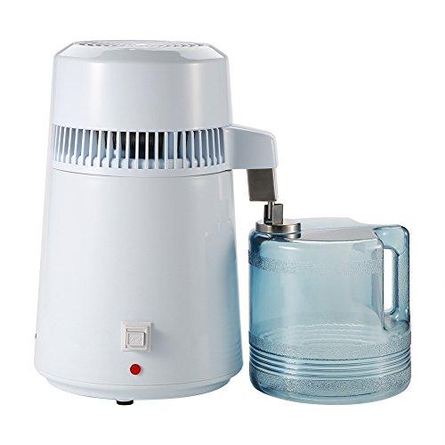Nannday 4L Wasserdestillierer, Luftfilter Filter Edelstahl Arbeitsplatte Destillationsgeräte für das Home Office(EU-Stecker)