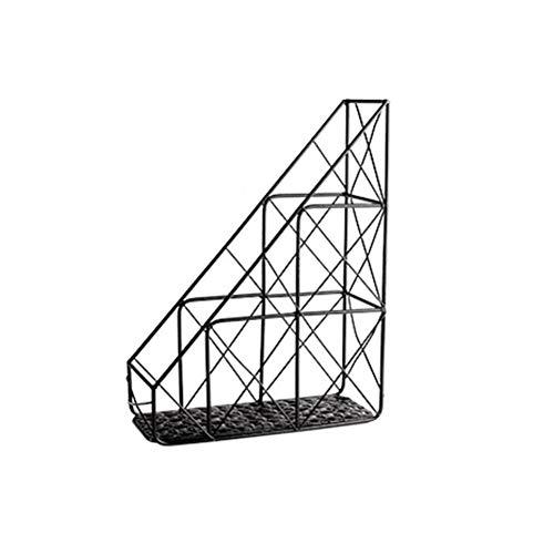 Schmiedeeisen Dateihalter, Dormitory Office Desktop Einfacher Dateirahmen Datenverwaltungs Rack Datei Spaltenmagazin Aufbewahrungsgestell Metall Schreibwaren Ornamente,Black