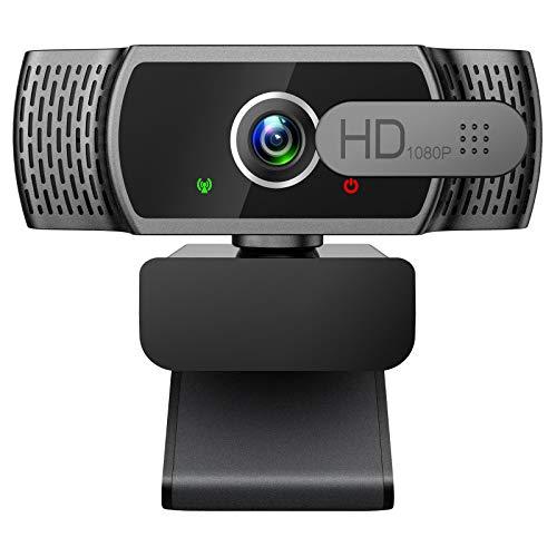 Cámara web 1080P con micrófono - Cámara web FHD con cubierta de privacidad, cámara web USB Plug and Play para escritorio y portátil videoconferencia/llamadas/Skype/YouTube/Zoom/Facetime