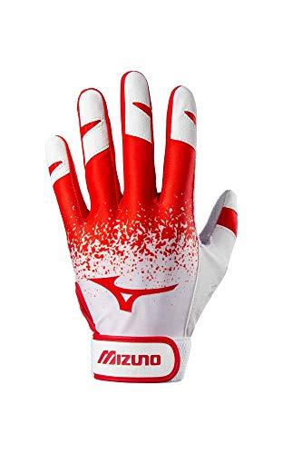 Mizuno Finch - Guante de bateo de softbol para adultos, color blanco/rojo, mediano