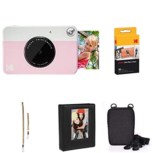 KODAK PRINTOMATIC Digital Instant Print Camera (Pink) with Extra Paper, Album, Case, Colorful Neck/Hand Strap Nebraska