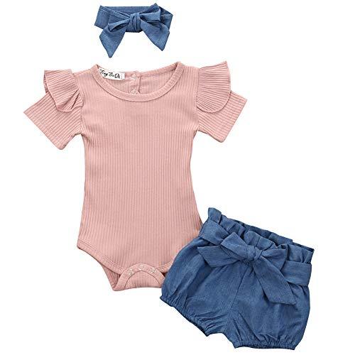 Conjunto de ropa de verano para bebé recién nacido de algodón de manga corta con volantes y pantalones cortos florales, Rosa+Azul mezclilla, 12-18 Meses